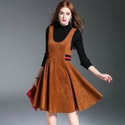 洛圖 - 套裝: 長袖針織上衣 + 拼接背帶連衣裙