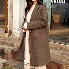 chuu - Peaked-Lapel Wool Blend Houndstooth Coat