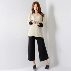 FASHION DIVA - Set: Contrast-Cuff Wool Blend Knit Top + Pants
