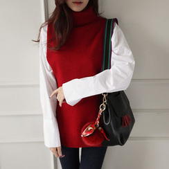 NIPONJJUYA - Turtle-Neck Open-Side Wool Knit Top