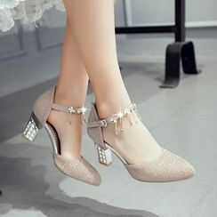 CITTA - Embellished Block Heel Pumps