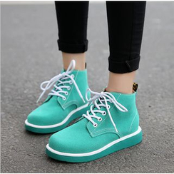 BAYO - Plain Lace Up High Top Sneakers