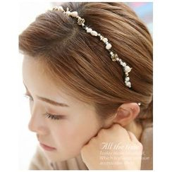 Miss21 Korea - Rosette Freshwater-Pearl Hair Band