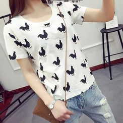 Heybabe - Chicken Print Short-Sleeve T-Shirt