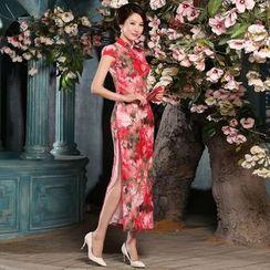 Montebelle - Floral Print Maxi Cheongsam