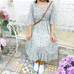 Cloud Nine - V-Neck Floral Print Elbow Sleeve Midi Dress