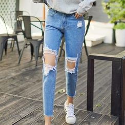 Denimot - Distressed Washed Boyfriend Jeans