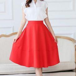 JK2 - Set: Short-Sleeve Frilled-Trim Top + A-Line Midi Skirt