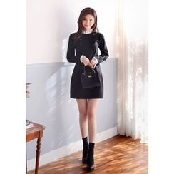 DEEPNY - Contrast-Collar Pintuck Mini Dress