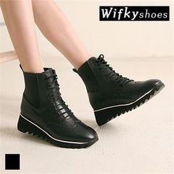 Wifky - Wing-Tip Lace-Up Short Boots