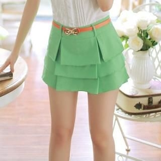 JK2 - Ruffle-Overlay Skort with Belt