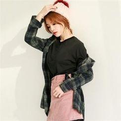 GLAM12 - Wool-Blend Check-Pattern Shirt