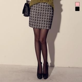 J-ANN - Houndtooth Check Miniskirt