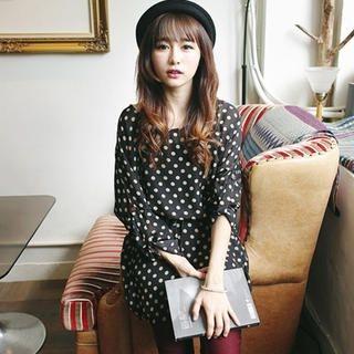 Tokyo Fashion - Tab-Sleeve Patterned Chiffon Dress