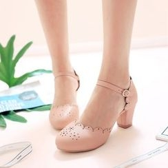 Pretty in Boots - Ankle Strap Brogue Pumps