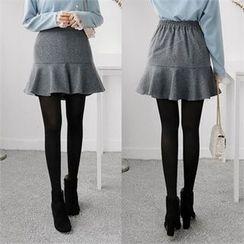 ZIZIBEZIRONG - Inset Inner Shorts Ruffle-Hem Mini Skirt