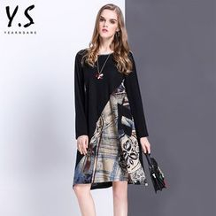 Y:Q - Printed Long-Sleeve Shift Dress