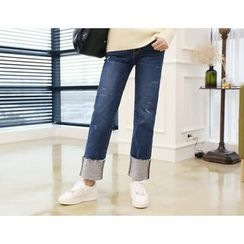 DANI LOVE - Turn-Up Hem Straight-Cut Jeans