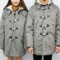 Seoul Homme - Couple Hooded Faux-Suede Duffle Coat