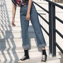 Dute - Raw Hem Wide Leg Jeans