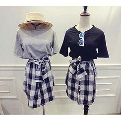 Octavia - 格子假两件T恤裙