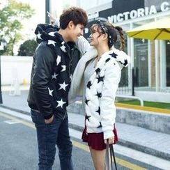 Evolu Fashion - Couple Matching Star Printed Hooded Jacket