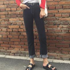 Lokin - High Waist Cropped Jeans