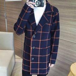 百高 - 格子長款大衣