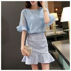 Ekim - Set: Ruffle Cuff Blouse + Ruffle Hem Mini Skirt