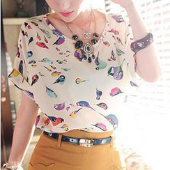Munhome - Bird- Print Chiffon Top