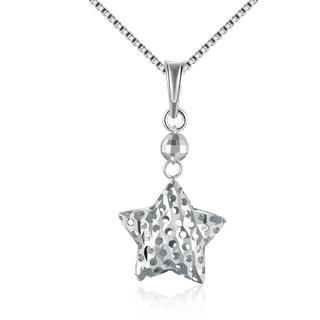 MaBelle - 14K White Gold 3D Puff Filigree Drop Star Necklace (16')