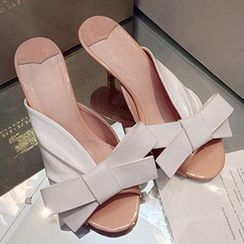 Sidewalk - Bow Kitten Heel Slide Sandals