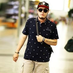 GARBO - Dotted Short-Sleeve Polo Shirt
