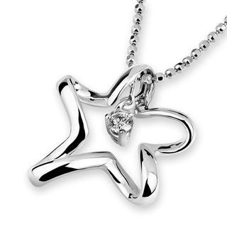 MaBelle - 18K White Gold Star Solitaire Diamond Pendant (1/10 cttw) (FREE 925 Silver Box Chain)