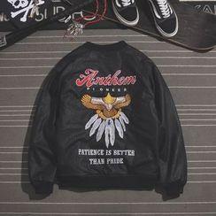 Mr.C studio - Embroidered Faux Leather Baseball Jacket