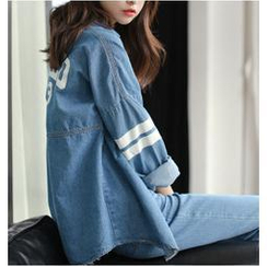 Sienne - Oversized Long Sleeved Lettering Denim Blouse