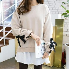 PEPER - Drop-Shoulder Tie-Sleeve T-Shirt
