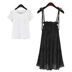 AGA - Set: Polka Dot Maxi Suspender Skirt + Plain Short-Sleeve T-Shirt