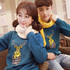 Breeson - Couple Matching Deer Embroidered Sweater