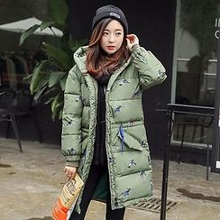Rosehedge - Printed Hooded Long Padded Coat