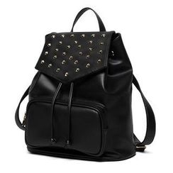 Princess Carousel - Drawstring Studded Faux Leather Backpack
