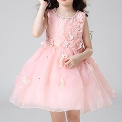 HELLO BABY - Kids Embellished Lace Panel Sleeveless Dress