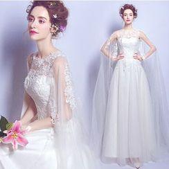 Angel Bridal - 斗篷肩蕾絲齊地婚紗
