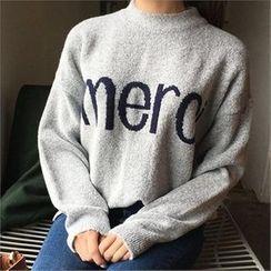 QNIGIRLS - Crew-Neck Lettering Sweater