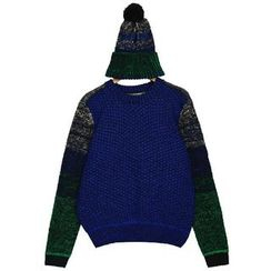 Quelite - Set : Bobble Beanie + Panel Knit Top