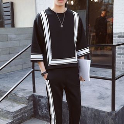 Danjieshi - Set: Striped 3/4-Sleeve Pullover + Sweatpants