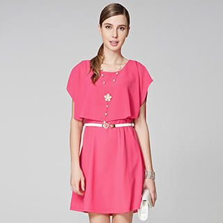 O.SA - Cape-Shoulder Chiffon Dress