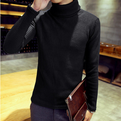 Consto - Turtleneck Ribbed Knit Top