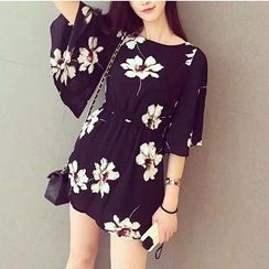 Athena - Bell-Sleeve Floral Minidress