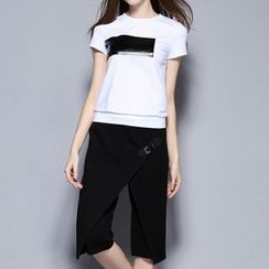 妮佳 - 套装: 短袖拼接T恤 + 裹式短裤